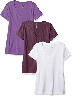Clementine Apparel Womens 3-CLM6640 Deep V Neck Tee (Pack of 3) Solid Short Sleeve T-Shirt