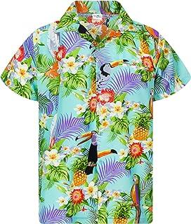 King Kameha Hawaiian Shirt for Men Funky Casual Button Down Very Loud Shortsleeve Unisex Parrot Cockatoo
