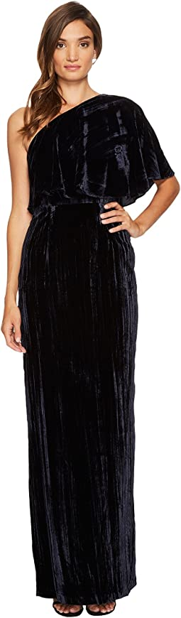 One Shoulder Long Crushed Velvet Gown
