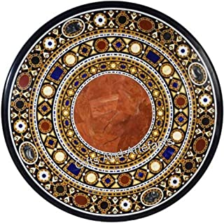 Indian Cottage Art and Crafts Table de salle à manger en marbre incrusté Noir 48 cm