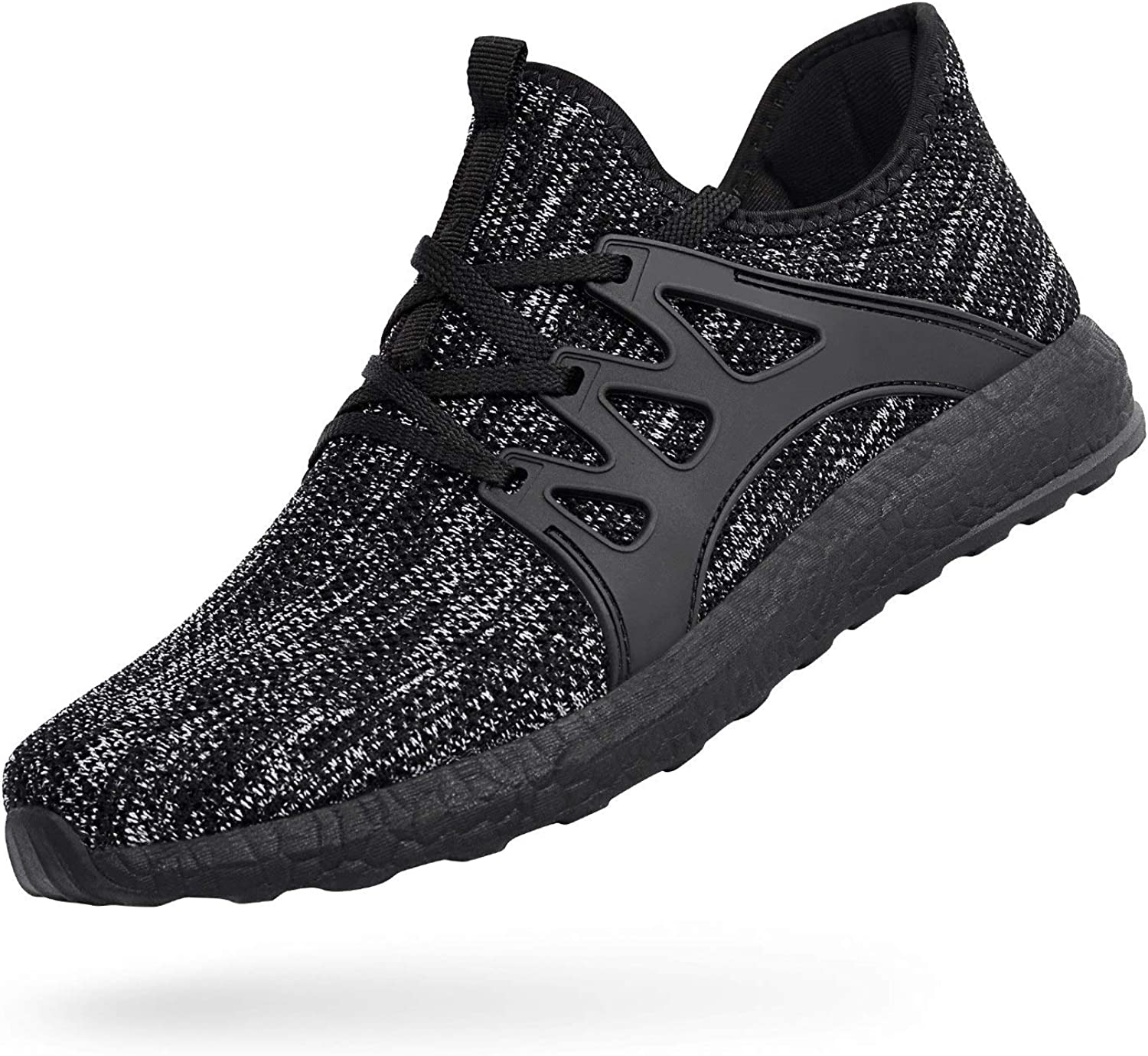 MARSVOVO Men's Sneakers Mesh Ultra Lightweight Breathable Athletic Running Walking Gym shoes Grey Black Size 9.5