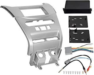 ECOTRIC Double DIN Installation Dash Kit Compatible with 2008-2011 Ford Focus Car Radio Stereo Dashboard Panel w/Harness and Antenna Silver