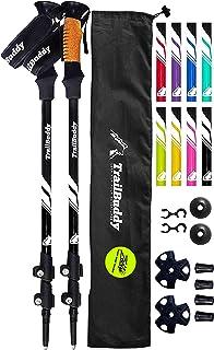 Best TrailBuddy Trekking Poles - 2-pc Pack Adjustable Hiking or Walking Sticks - Strong, Lightweight Aluminum 7075 - Quick Adjust Flip-Lock - Cork Grip, Padded Strap Review