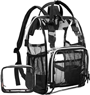 LOKASS Large Clear BackpackTransparent Multi-pockets Backpacks/Outdoor Backpack Fit 15.6 Inch Laptop Safety Travel Rucksack with Black Trim-Adjustable Straps(Black)
