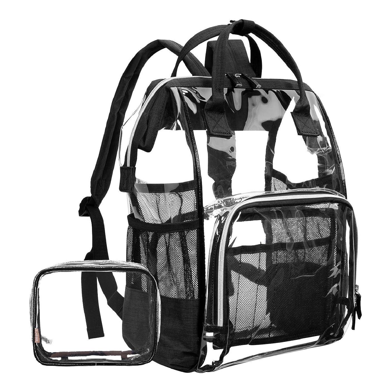 LOKASS Large Clear Backpack?Transparent Multi-Pockets Backpacks/Outdoor Backpack Fit 15.6 Inch Laptop Safety Travel Rucksack with Black Trim-Adjustable Straps & Mesh Side(Black)