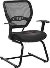 SPACE Seating Professional AirGrid Dark Back and Padded Black Eco Leather Seat, Fixed Arms and Lumbar Support Sled Base Vi...