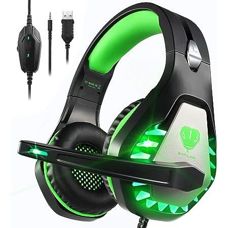 Cuffie Gaming con Microfono,3.5mm Cuffie da Gaming con Cancellazione del Rumore, Stereo Bass per PS4, Xbox One, PC, Mac, Smartphone per Bambini, Donne, Uomini