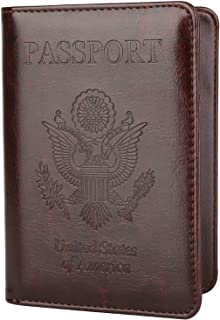 99f8b9482580 GDTK Leather Passport Holder Cover Case RFID Blocking Travel Wallet