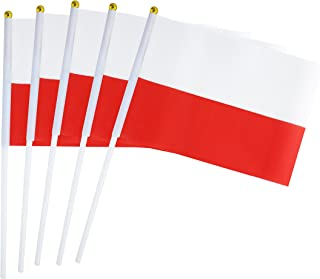 "Hand Held Poland Flag Polish Flag Stick Flag Mini Flag 50 Pack Round Top National Country Flags, Party Decorations Supplies For Parades,World Cup,Sports Events,International Festival (8.2 ""x 5.5"")"