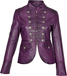 HOL Womens Genuine Leather Military Style Jacket Slim Fit Waist Length Janet Purple