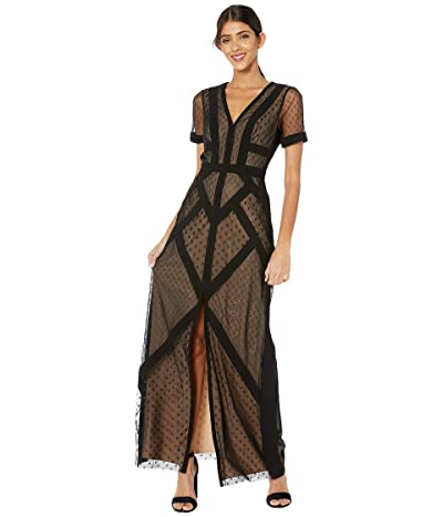 BCBGMAXAZRIA Short Sleeve Gown Dress (Black) Women