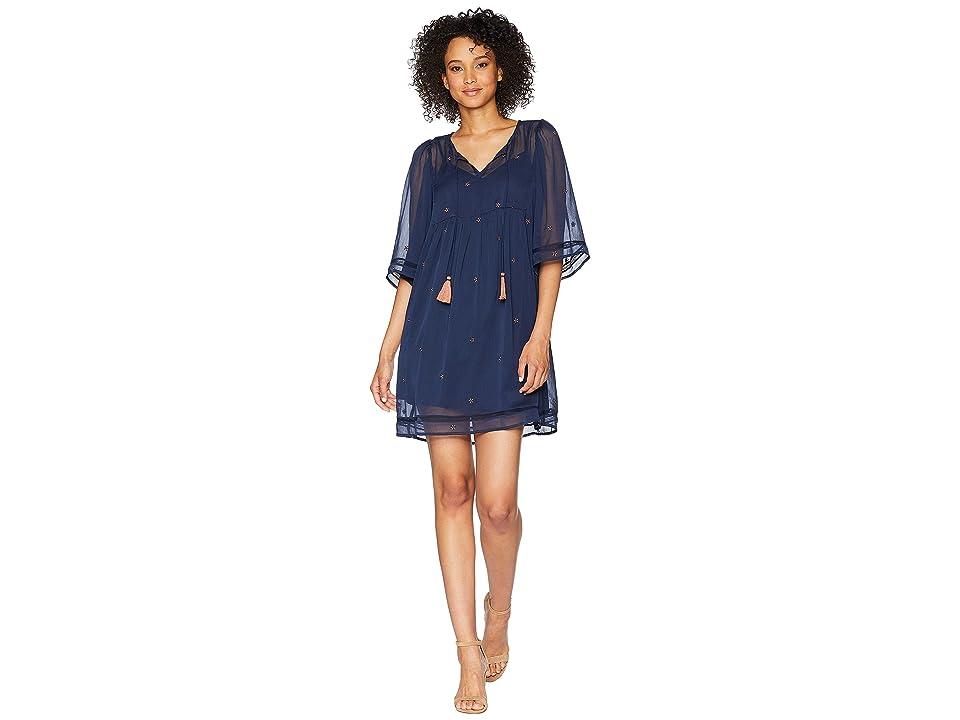 Lucky Brand Peasant Tassel Dress (Navy Multi) Women