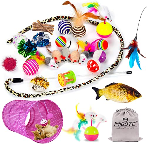 MIBOTE 28 Pcs Cat Toys Kitten Toys Assorted, Cat Tunnel Catnip Fish Feather Teaser Wand Fish Fluffy Mouse Mice Balls ...