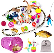 MIBOTE 28 Pcs Cat Toys Kitten Toys Assorted, Cat Tunnel Catnip Fish Feather Teaser Wand Fish Fluffy Mouse Mice Balls and B...