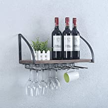 Weven 24in Rustic Wall Mounted Wine Racks for New Home with Stemware Racks,Industrial Liquor Bottle Storage Holders,Floating Shelves with Glass Holder,Home Decor Display Rack