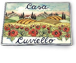 CERAMICHE D'ARTE PARRINI- Ceramica italiana artistica pannello in ceramica 30x20 personalizzato decorazione paesaggio papa...