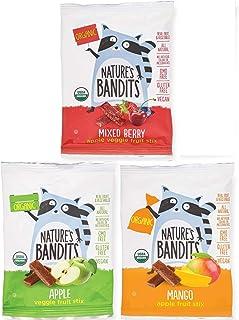 Nature's Bandits Organic Fruit & Veggie Stix (Variety -3 Flavors), Kid's 0.6 oz Value Pack - 24 Bags (Vegan, Gluten-Free, Kosher)