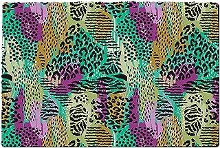 Rainbow Rules Indoor Doormat - Purple & Green Animal Print