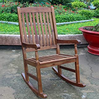 International Caravan Traditional Porch Rocking Chair Crafted From Solid Acacia Wood For Beauty and Durability