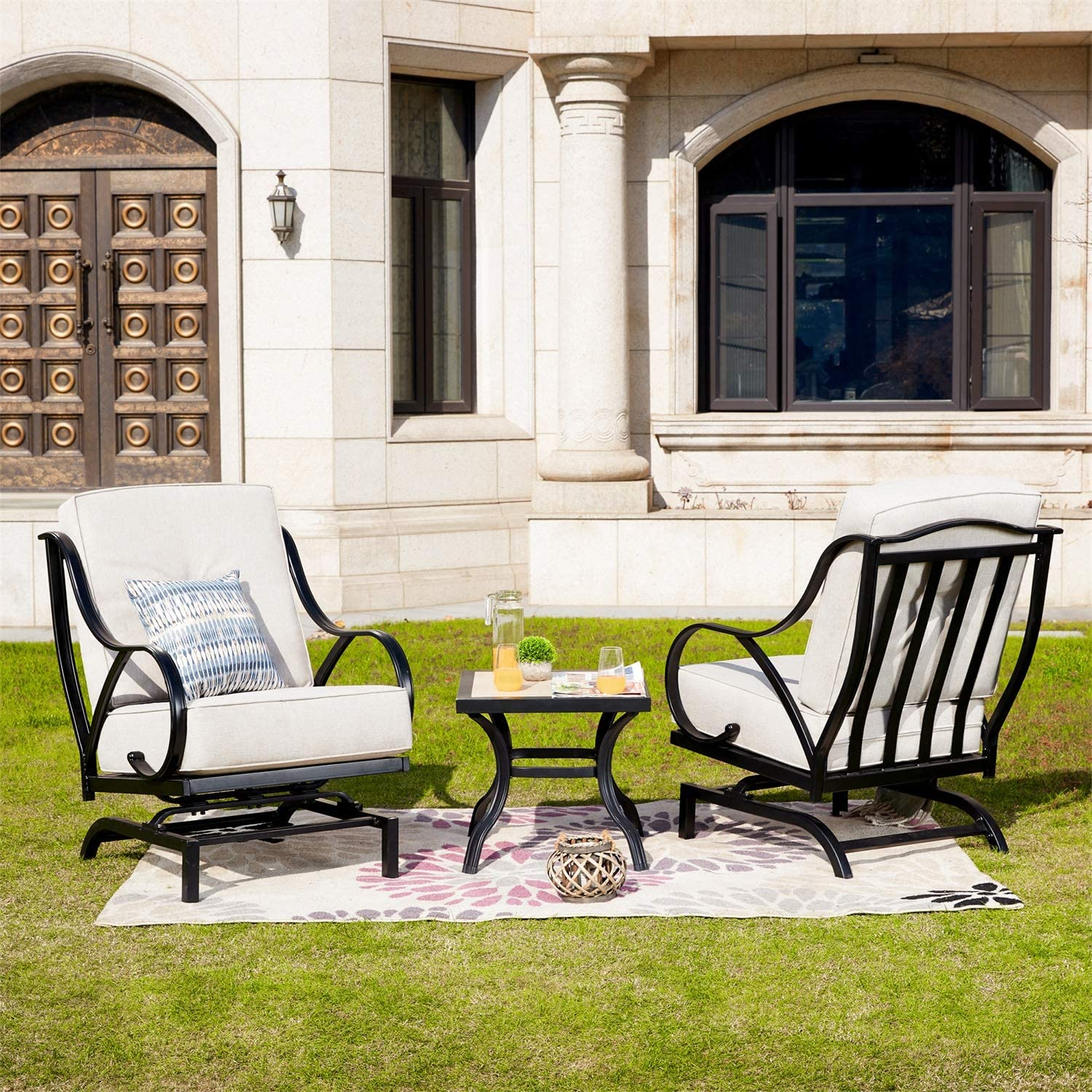 PatioFestival Patio Bistro Set Outdoor Rocking Motion Chairs with Thick Cushions /& Coffee Table Conversation Sets Metal Furniture for Lawn Garden Poolside Yard