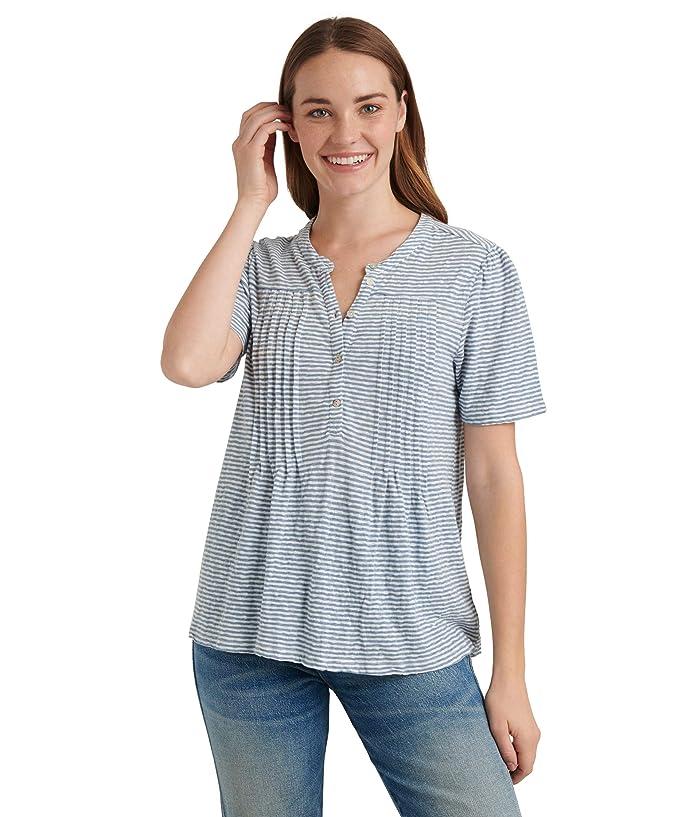 Lucky Brand  Short Sleeve Button-Up Striped Knit Seersucker Top (Blue Stripe) Womens Clothing