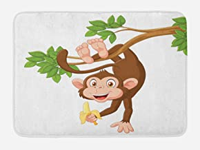 Ambesonne Cartoon Bath Mat, Funny Monkey Hanging from Tree and Holding Banana Jungle Animals Theme Print, Plush Bathroom Decor Mat with Non Slip Backing, 29.5 W X 17.5 L Inches, Chocolate White