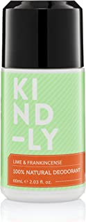 KIND-LY 100% Natural Probiotic Magnesium Deodorant Roll-On (Lime & Frankincense). Aluminium Free, Paraben Free; Organic, Vegan (60ml/2.03 fl.oz)