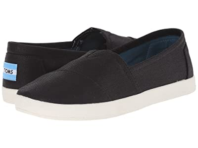 TOMS Avalon Sneaker (Black Coated Canvas) Women