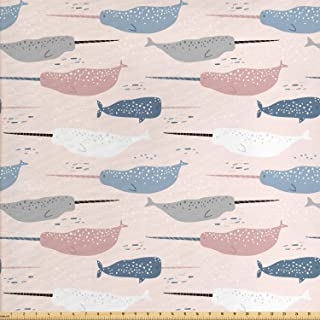 Lunarable Under The Sea Fabric by The Yard, Hand Drawn Narwhals Whales with Horns Pattern Exotic Mystical Marine Elements, Decorative Fabric for Upholstery and Home Accents, Multicolor
