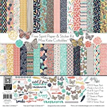 Paper & Sticker Kit - Free Spirit - 17 Double-Sided 12x12 Papers with 33 Designs & 1 8X12 Sticker Sheet - Scrapbooking Card Making Crafting - by Miss Kate Cuttables