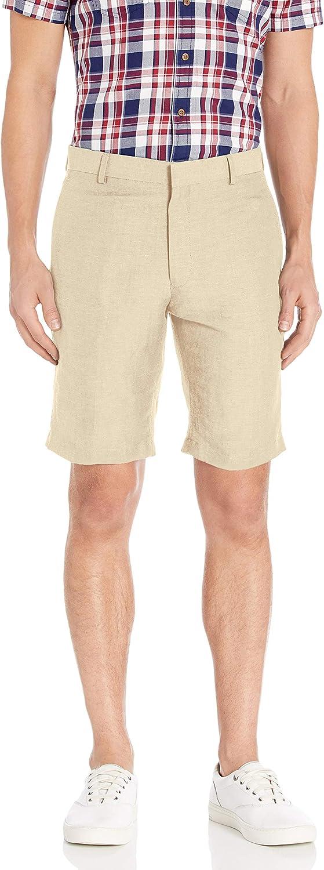 Louis Raphael Men's National products Rapid rise Slim Fit Short Flat Front Blend Linen