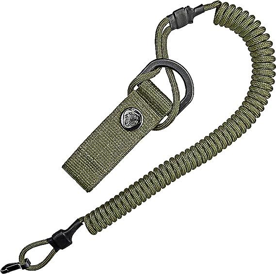 Cable en espiral, llavero elástico de Paracord, Lanyard, cinta para llaves, correa elástica, soporte RSG con mosquetón (ArmyGreen)