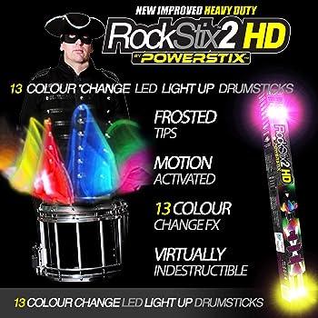 PAIR of ROCKSTIX 2 PRO - COLOUR CHANGING LED LIGHT UP DRUM STICKS