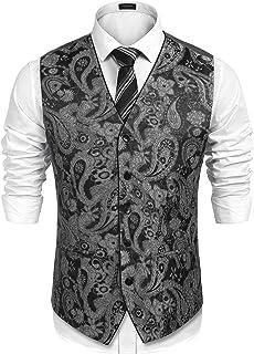 COOFANDY Men's Suit Vest V-Neck Paisley Embroidery Tuxedo Dress Waistcoat