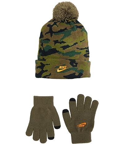 Nike Kids Pom Beanie and Gloves Two-Piece Set (Big Kids) (Olive) Snowboard Gloves