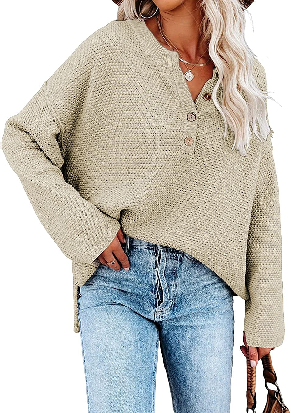 SHEWIN Women's Long Sleeve Button Neck Fall Pullover Sweaters Knit Jumper Tops