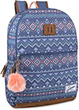 Trailmaker Modern Backpack with Padded Straps, Suede Bottom, Fashion PomPom for School, College, Travel
