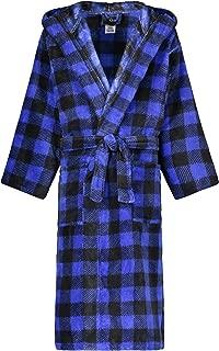 Image of Cozy Blue Plaid Hooded Fleece Bath Robe for Boys