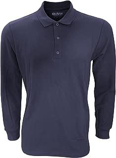Mens Long Sleeve Premium Cotton Double Pique Polo Shirt