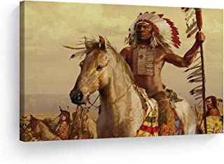 SmileArtDesign Indian Wall Art Native American Riding a White Horse Canvas Print Home Decor Decorative Artwork Gallery Wrapped Wood Stretched and Ready to Hang -%100 Handmade in The USA - 8x12