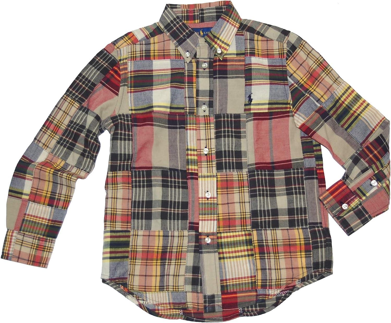 Polo Ralph Lauren Boy's Plaid Madras Patchwork Long Sleeve Shirt