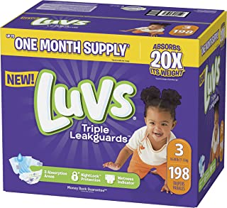 Diapers Size 3, 198 Count - Luvs Ultra Leakguards Disposable Baby Diapers, ONE MONTH SUPPLY (Packaging May Vary)