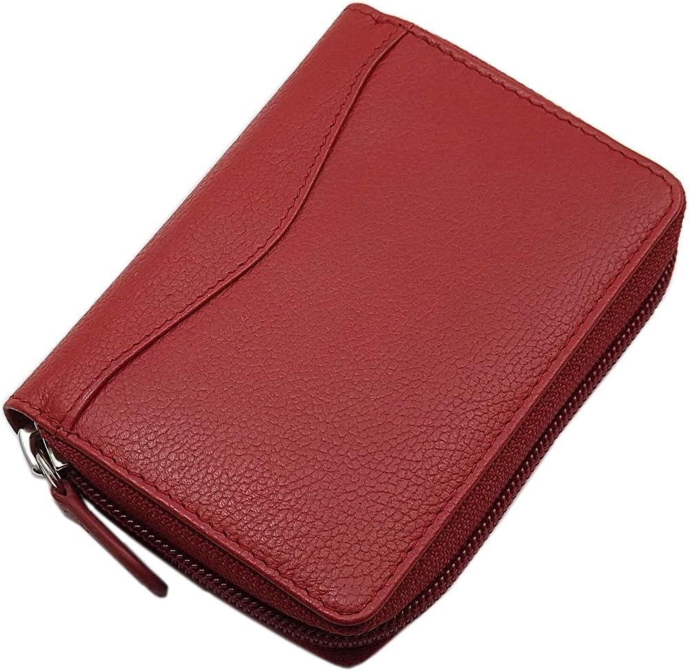 Myledershop porta carte di credito e portafoglio in pelle rosso