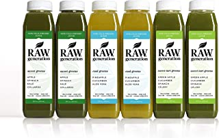 3-Day Green Juice Variety Pack by Raw Generation® - 100% Plant-Based Green Juice Cleanse/Healthiest Way to Lose Weight & Detoxify Your Body/Jumpstart a Healthier Diet
