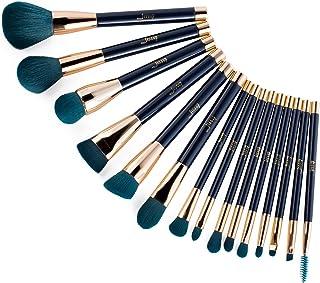 Jessup 15pcs Makeup Brushes Set Powder Foundation Eyeshadow Eyeliner Lip Contour Concealer Smudge Brush Tool Blue/Darkgree...