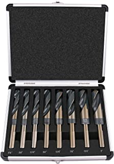 "Best Choice 8-Piece 1/2"" Shank Silver and Deming Drill Bit Set in Aluminum Carry Case, High Speed Steel (HSS) 