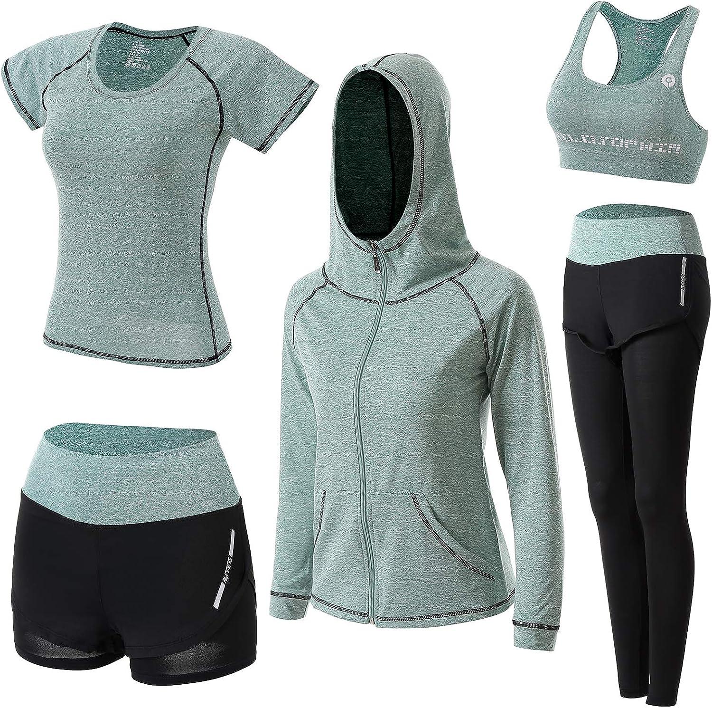 correr yoga para deportes ejercicio transpirables BOTRE Atuendos de entrenamiento 5 en 1 de secado r/ápido entrenamiento el/ásticos