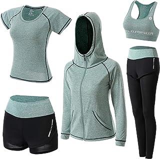 BOTRE Damen Traingsanzug Yoga Kleidung Anzug 5er-Set Sportanzüge Jogginganzug Gym Fitness Kleidung Laufbekleidung Sportswe...