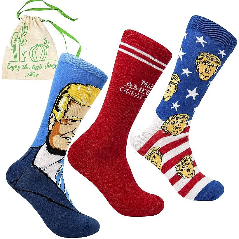 Cool Socks Trump MAGA 3 Pack of Crew Socks - Make America Great Again, Trump Portrait, and Stars and Stripes, with Myriads Drawstring Bag