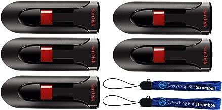 SanDisk Cruzer Glide 128GB Flash Drive (5 Pack Bundle) USB 2.0/3.0 Port Jump Drive Pen Drive (SDCZ60-128-B35) Plus (2) Everything But Stromboli (TM) Lanyards
